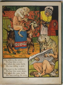 Fifth illustration, on page 6, of Old Mother Hubbard in the book The Marquis of Carabas' Picture Book by Walter Crane/printed in colours by Edmund Evans (London: George Routledge and Sons, n.d. [ca. 1875])