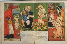 Fourth illustration, on unnumbered pages 4 and 5, of Old Mother Hubbard in the book The Marquis of Carabas' Picture Book by Walter Crane/printed in colours by Edmund Evans (London: George Routledge and Sons, n.d. [ca. 1875])