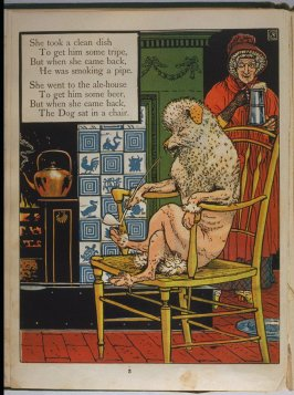 Third illustration, on page 3, of Old Mother Hubbard in the book The Marquis of Carabas' Picture Book by Walter Crane/printed in colours by Edmund Evans (London: George Routledge and Sons, n.d. [ca. 1875])