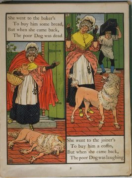 Second illustration, on page 2, of Old Mother Hubbard in the book The Marquis of Carabas' Picture Book by Walter Crane/printed in colours by Edmund Evans (London: George Routledge and Sons, n.d. [ca. 1875])
