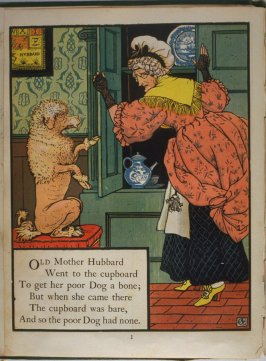 First illustration, on page 1, of Old Mother Hubbard in the book The Marquis of Carabas' Picture Book by Walter Crane/printed in colours by Edmund Evans (London: George Routledge and Sons, n.d. [ca. 1875])