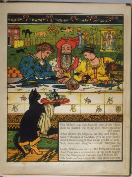 Seventh illustration, on page 8, of Puss in Boots in the book The Marquis of Carabas' Picture Book by Walter Crane/printed in colours by Edmund Evans (London: George Routledge and Sons, n.d. [ca. 1875])