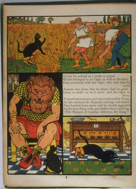 Sixth illustration, on page 7, of Puss in Boots in the book The Marquis of Carabas' Picture Book by Walter Crane/printed in colours by Edmund Evans (London: George Routledge and Sons, n.d. [ca. 1875])