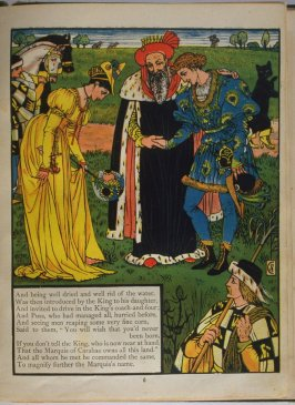 Fifth illustration, on page 6, of Puss in Boots in the book The Marquis of Carabas' Picture Book by Walter Crane/printed in colours by Edmund Evans (London: George Routledge and Sons, n.d. [ca. 1875])