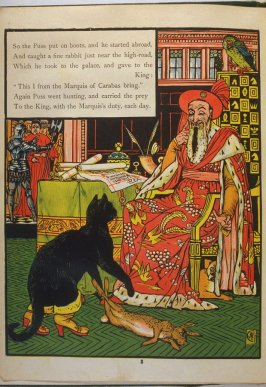 Third illustration, on page 3, of Puss in Boots in the book The Marquis of Carabas' Picture Book by Walter Crane/printed in colours by Edmund Evans (London: George Routledge and Sons, n.d. [ca. 1875])