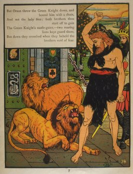 Sixth illustration, on page 7, of Orson and Valentine in the book The Marquis of Carabas' Picture Book by Walter Crane/printed in colours by Edmund Evans (London: George Routledge and Sons, n.d. [ca. 1875])