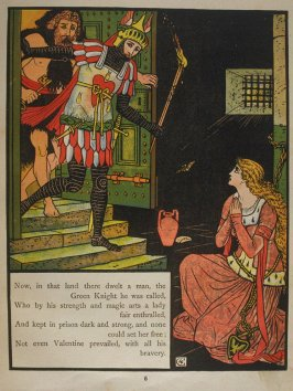 Fifth illustration, on page 6, of Orson and Valentine in the book The Marquis of Carabas' Picture Book by Walter Crane/printed in colours by Edmund Evans (London: George Routledge and Sons, n.d. [ca. 1875])