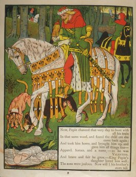 Third illustration, on page 3, of Orson and Valentine in the book The Marquis of Carabas' Picture Book by Walter Crane/printed in colours by Edmund Evans (London: George Routledge and Sons, n.d. [ca. 1875])