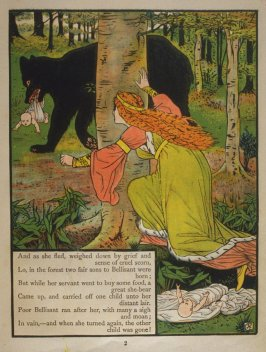 Second illustration, on page 2, of Orson and Valentine in the book The Marquis of Carabas' Picture Book by Walter Crane/printed in colours by Edmund Evans (London: George Routledge and Sons, n.d. [ca. 1875])