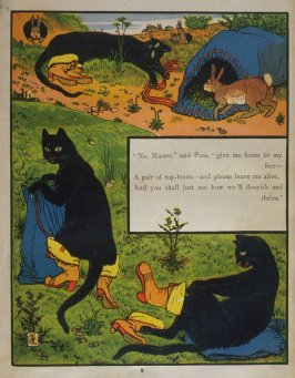Second illustration, on page 2, of Puss in Boots in the book The Marquis of Carabas' Picture Book by Walter Crane/printed in colours by Edmund Evans (London: George Routledge and Sons, n.d. [ca. 1875])
