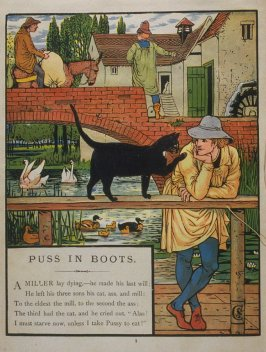 First illustration, on page 1, of Puss in Boots in the book The Marquis of Carabas' Picture Book by Walter Crane/printed in colours by Edmund Evans (London: George Routledge and Sons, n.d. [ca. 1875])