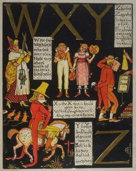 Seventh illustration, on unnumbered page 8, of The Absurd ABC in the book The Marquis of Carabas' Picture Book by Walter Crane/printed in colours by Edmund Evans (London: George Routledge and Sons, n.d. [ca. 1875])