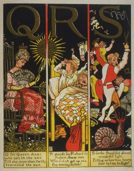 Fifth illustration, onunnumbered page 6, of The Absurd ABC in the book The Marquis of Carabas' Picture Book by Walter Crane/printed in colours by Edmund Evans (London: George Routledge and Sons, n.d. [ca. 1875])