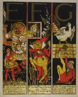 Second illustration, on unnumbered page 2, of The Absurd ABC in the book The Marquis of Carabas' Picture Book by Walter Crane/printed in colours by Edmund Evans (London: George Routledge and Sons, n.d. [ca. 1875])