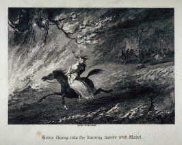Herne flying into the burning woods with Mabel