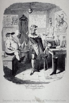 Serjeant Scales cleaning the Duke of Marlborough's boots.