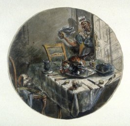 Untitled [Maidservant coming into a diningroom where cat and dog are making a mess]