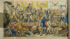 Dinner of the Four in Hand Club at Salthill, 6th plate in volume 1 of the book The Scourge… (London: J. Johnston, 1811)