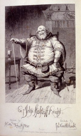 Sir John Falstaff, Knight, frontispiece and plate 1 in the bookThe Life of Sir John Falstaff by Robert B. Brough (London: Longman, Brown, Green, Longmans, and Roberts, 1858)