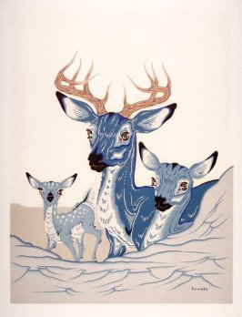 Three Deer with Snow