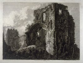Gateway at Denbigh Castle from: Wanderings and Pencillings amongst Ruins of the Olden Times: A Series of Seventy-three Etchings by George Cuitt, Esq. (London, 1855)