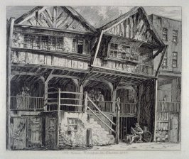 Old House, Watergate St., from: Wanderings and Pencillings amongst Ruins of the Olden Times: A Series of Seventy-three Etchings by George Cuitt, Esq. (London, 1855)