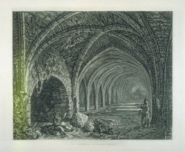The Cloisters, Fountains Abbey, plate 8, at p. 6, in the book, Wanderings and Pencillings amongst the Ruins of the Olden Time (London: Nattali and Bond, 1855)