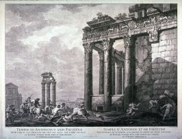 Temple of Antoninus and Faustina, pl. 13 from the series Views of Antique Buildings and Famous Ruins in Italy, after C. Clérisseau