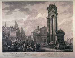Temple of Jupiter Stator, pl 12 from the series Views of Antique Buildings and Famous Ruins in Italy, after C. Clérisseau