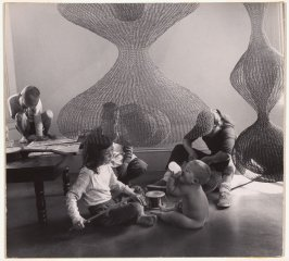 Untitled (Ruth Asawa with sculptures and children)