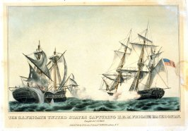 The U.S. Frigate United States Capturing H.B.M. Frigate Macedonian. Fought, Octr 25th 1812