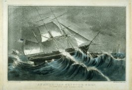 An American Clipper Ship. Off Sandy Hook Light in a Snowstorm