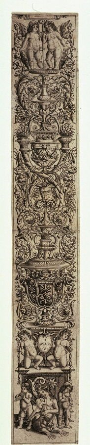 Ornamental Panel: Nereid and Two Children Playing Musical Instruments, from a series of twelve ornamental panels