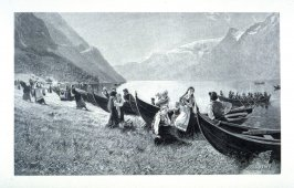 [A festive gathering of Norwegian men and women arriving in boats on mountain lake]