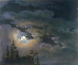 A Cloud and Landscape Study by Moonlight