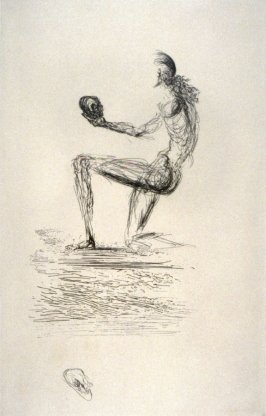 Untitled (Kneeling figure holding a skull)