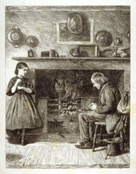 [interior scene with poor visitor eating by a fire]