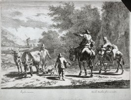 One of six landscapes: [Two people on mules and two herding cows]