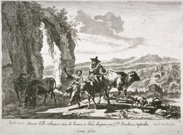 Title page - One of six landscapes: [One woman on mule and others animals gathered around]