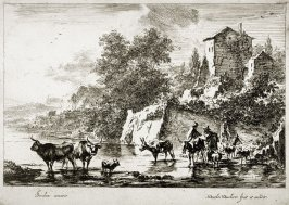 One of six landscapes:[Mules and cows in river]
