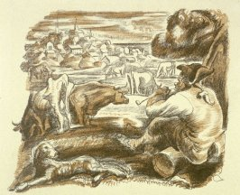 [Man smoking a pipe, watching cattle]