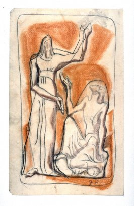 Two figures, one kneeling