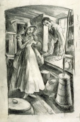 Illustration to: New Salem Post Office p.48 / Verso: study of figures
