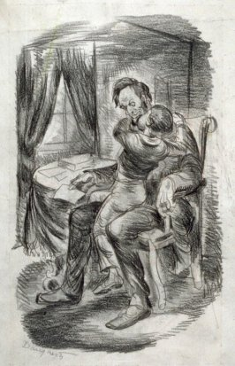 Lincoln and Lad / Verso: Lincoln illustration