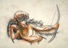 American Indian draws his bow