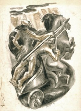 Two ancient warriors in their horse-drawn Chariot