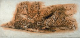 A battle of ancient ships of the line (recto); Study, museum piece (verso)