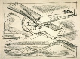 Study of a high winged monoplane in flight