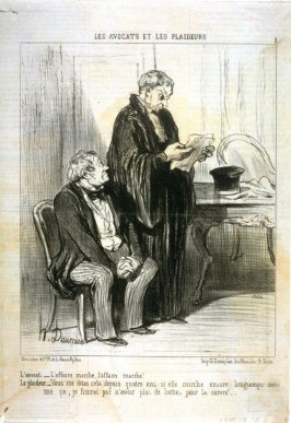 L'avocat. - l'affaire marche, l'affaire marche!... no. 1 of the series Les avocats et les plaideurs published in Le Charivari 12 November 1851