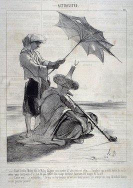 Grand Prince Muley . . . daignez vous mettre à l'abri...no. 110 from the series Actualités published in Le Charivari 22 September 1844